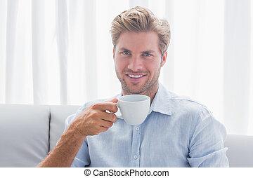 café, sien, séance, divan, boire, homme, beau
