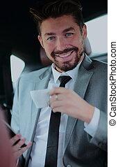 café, sien, voiture, homme affaires, avoir, beau