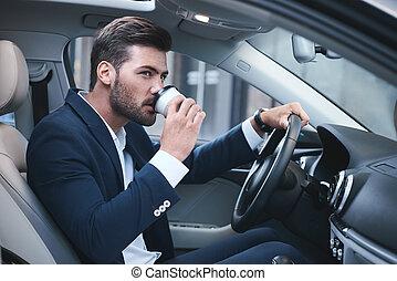 café, sien, voiture, jeune, homme affaires, avoir