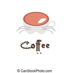 café, silhouette, animal, contre, tasse