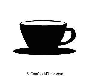 café, silhouette, tasse, arrière-plan noir, blanc