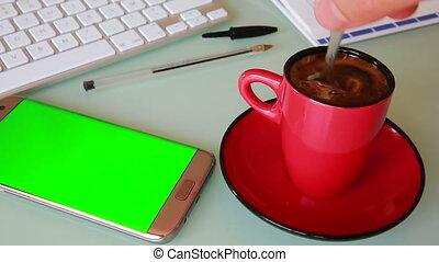 café, smartphone, tasse, écran, -, vert