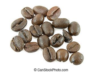 café, sobre, grão, fundo branco