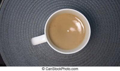 café, sommet, blanc, vue, lait, grande tasse