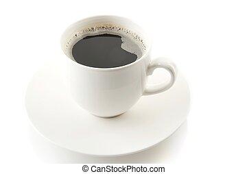café, soucoupe, tasse blanche