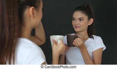 café, studio, boire, girl