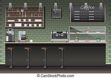 café, Style, Illustration, magasin, café, conception, barre,...