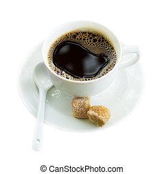 café, sur, blanc