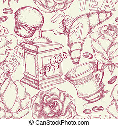 café, té, seamless, patrón