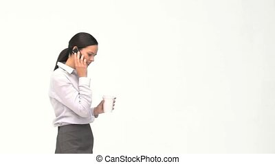 café, téléphone, femme affaires, coupure, conversation, pendant