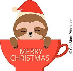 café, t, usado, cartaz, natal, lata, cartão, preguiça, caricatura, cute, cup., ser, sinal., feliz, vermelho, shirt., saudação, sloth.