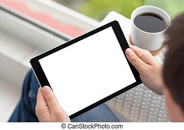café, tablette, écran, isolé, informatique, tenant mains, homme