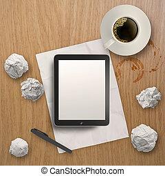 café, tablette, tasse, bureau bois, vide, 3d