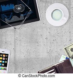 café, tablette, tasse, portefeuille, pc, smartphone