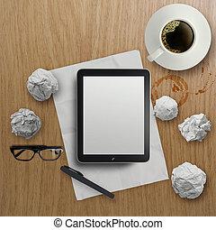 café, tablette, vide, bois, tasse, bureau, 3d