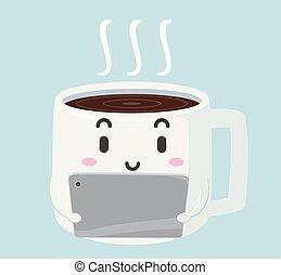 café, tabuleta, ilustração, mascote