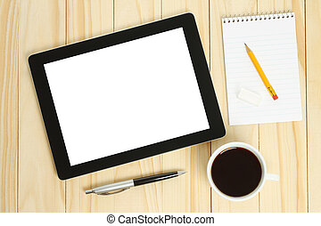 café, tabuleta, materiais, escritório, copo, pc