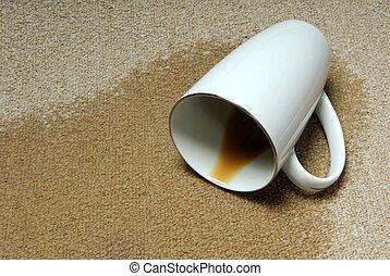 café, tache, carpet.