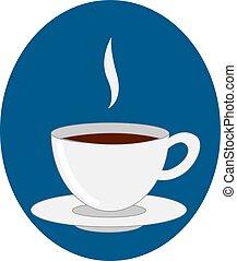 café, tasse, illustration, arrière-plan., vecteur, blanc