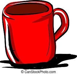 café, tasse, illustration, arrière-plan., vecteur, blanc rouge