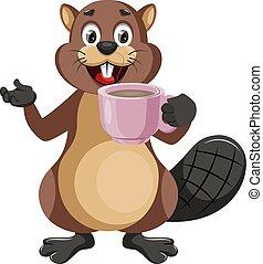 café, tasse, illustration, arrière-plan., vecteur, castor, blanc
