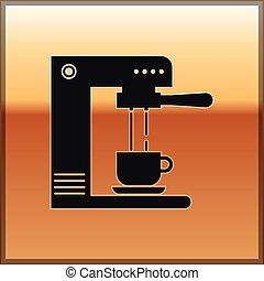 café, tasse or, isolé, illustration, machine, arrière-plan., vecteur, noir, icône
