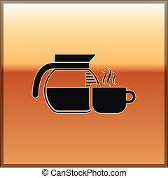 café, tasse or, pot, isolé, illustration, arrière-plan., vecteur, noir, icône