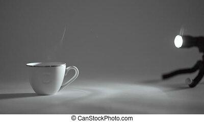 café, tasse thé, ou, chaud, blanc, vapeur, vient