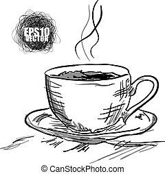 café, tempo chá, quentes, break., ou