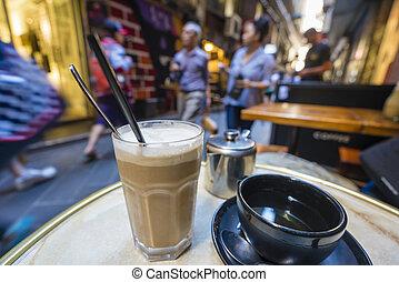 café thé, apprécier, laneway