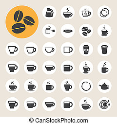 café thé, icône, set., tasse