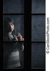 café thé, ou, girl, tasse