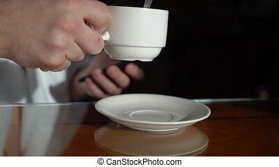 café, thé, peignoir, matin, boire, ou, homme