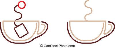 café thé, vecteur, -, icône