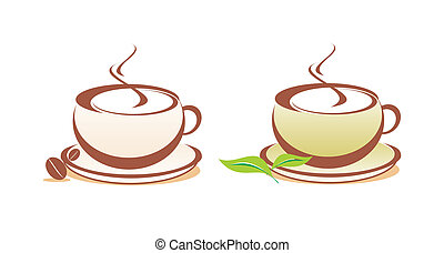 café thé, vecteur, illustration