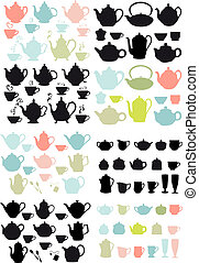 café thé, vecteur, pots