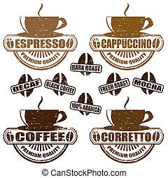 café, timbres, types