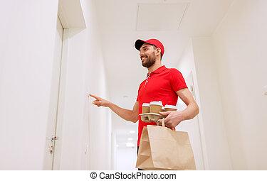 café, tocando, alimento, campainha, homem entrega