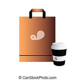 café, toma, bolsa, imagen, corporativo, lejos