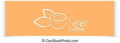 café, ton, bannières, design.