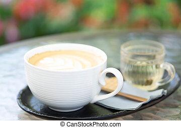 café, tulipe, closeup, art, forme, table verre, latte, fleur, fond