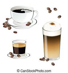 café, vecteur, éléments