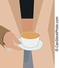 café, vecteur, blanc, arrière-plan., tasse, illustration