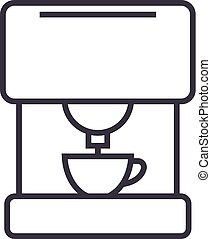 café, vecteur, coups, editable, illustration, machine, signe, fond, icône, ligne
