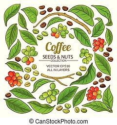 café, vecteur, ensemble, éléments
