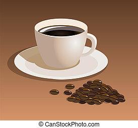 café, vecteur, haricots, tasse