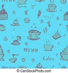café, vecteur, seamless, fond
