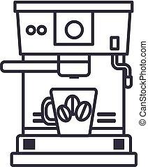 café, vecteur, tasse, coups, editable, illustration, machine, signe, fond, icône, ligne