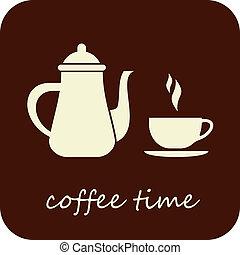 café, vecteur, -, temps, icône