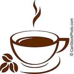 café, vector, icono, taza